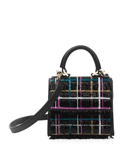 Micro Alex Disco Tartan Top-Handle Bag, Black/Multi