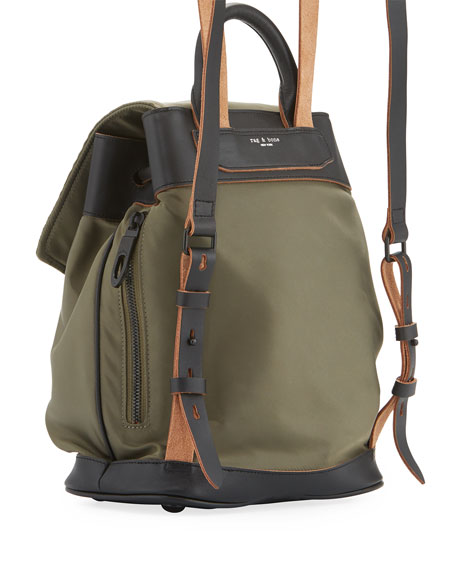 Pilot Mini Leather-Trim Nylon Backpack, Olive