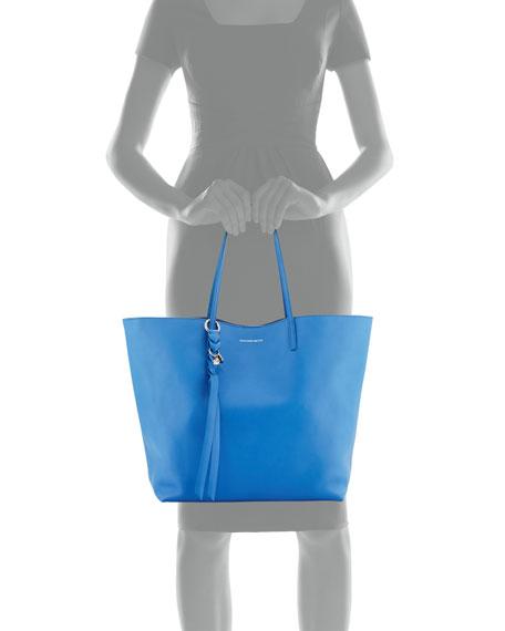 Skull Open Leather Shopper Tote Bag, Storm Blue