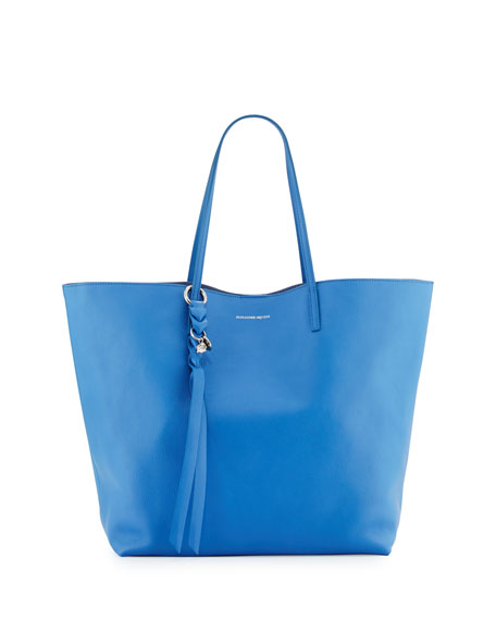 Skull Open Leather Shopper Tote Bag, Storm Blue