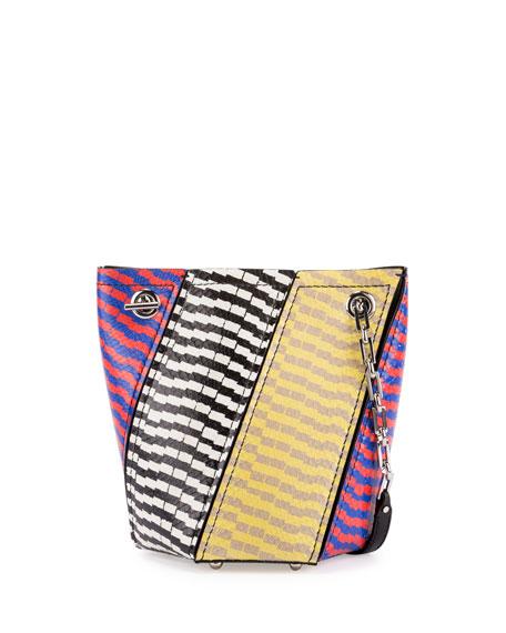Crossbody Hex Colorblock Snakeskin Bucket Bag, Multicolor