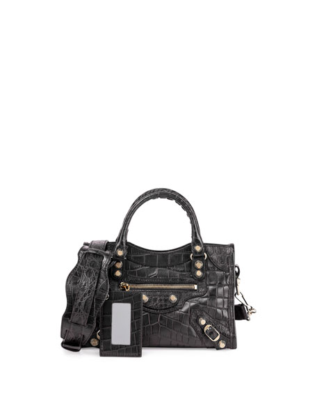 e07472f63c316 Balenciaga Giant 12 City Mini Croc-Embossed Bag