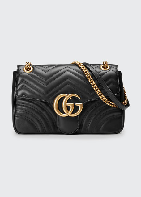 Medium Gg Marmont 2.0 Matelassé Leather Shoulder Bag in Black