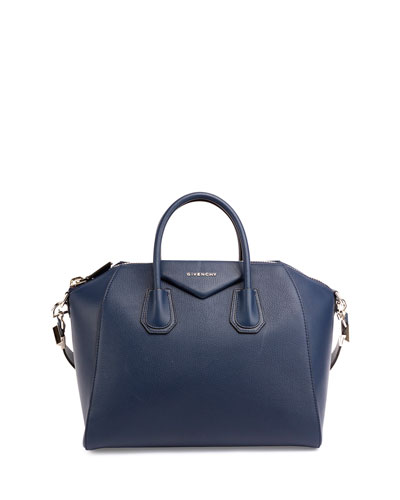 Antigona Medium Sugar Goatskin Satchel Bag, Navy