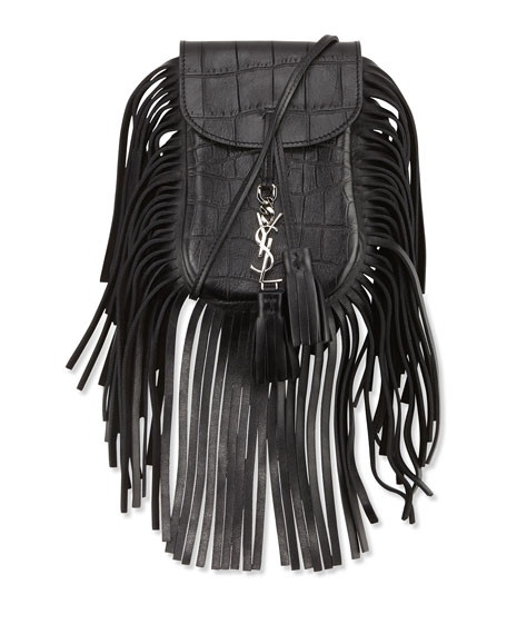 02bffca689 Saint Laurent Anita Toy Flat Fringe Croc-Embossed Crossbody Bag