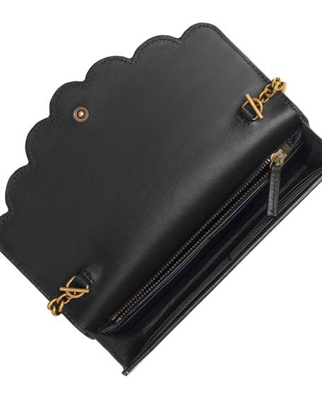 7de8e81011e Gucci Peony GG Supreme Pearly Mini Wallet-On-Chain, Black