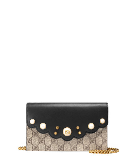 bdfb69aae690 Gucci Peony GG Supreme Pearly Mini Wallet-On-Chain, Black