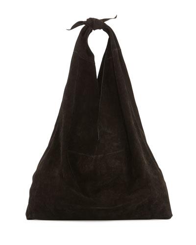 Bindle Knot Suede Hobo Bag, Black