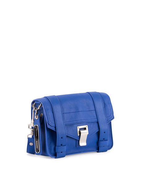 PS11 Mini Leather Shoulder Bag, Memphis Blue