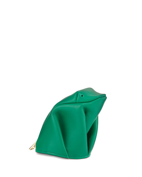 Loewe Frog Leather Coin Purse, Green