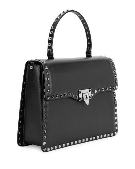 Rockstud Medium Leather Top-Handle Satchel Bag, Black