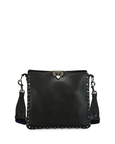 Guitar Rockstud Rolling Noir Hobo Bag, Black