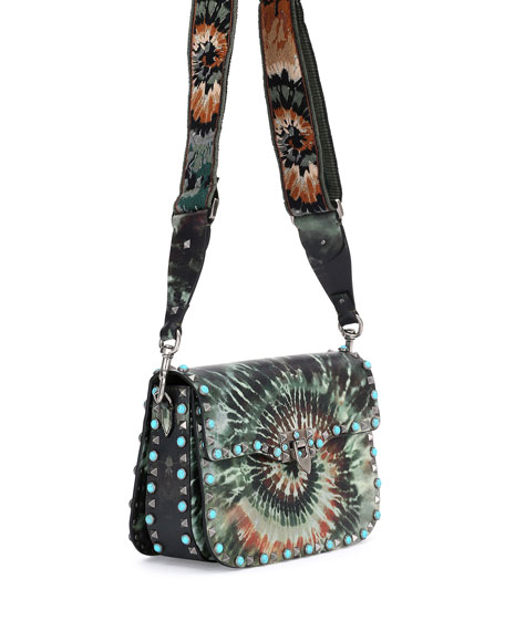 Rockstud Rolling Medium Tie Dye Guitar Strap Shoulder Bag Army Green