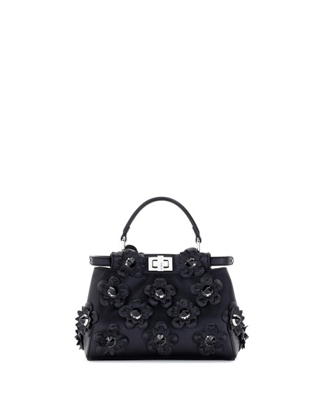 Fendi Peekaboo Mini Allover Flowers Satchel Bag, Black