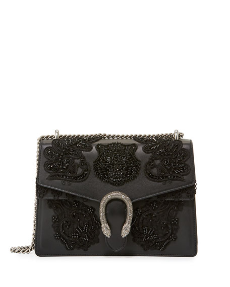 Dionysus Medium Embroidered Shoulder Bag, Black