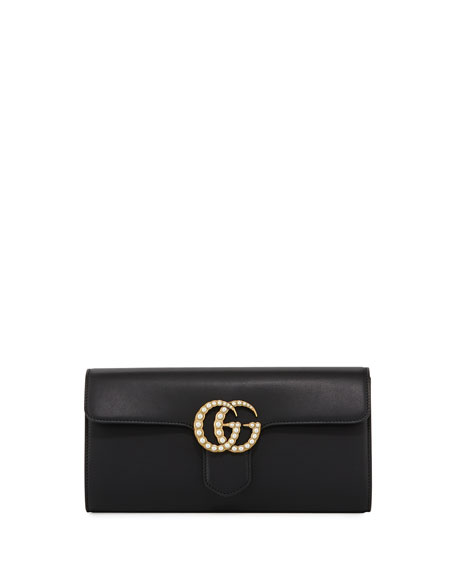 Structured Leather Clutch Bag