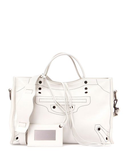 Balenciaga Blackout City AJ Shoulder Bag, White