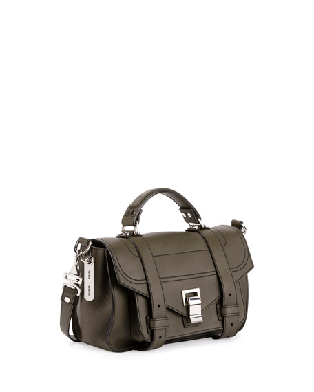 PS1 Tiny Leather Satchel Bag, Cypress