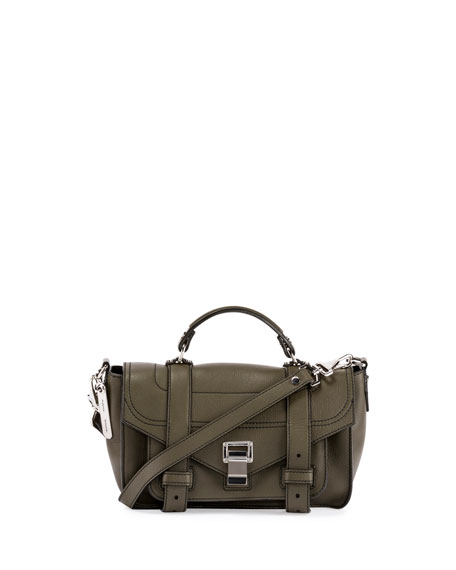 Proenza Schouler PS1 Tiny Leather Satchel Bag, Cypress