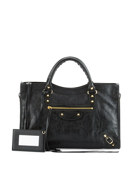 Classic City Golden Lambskin Tote Bag, Black
