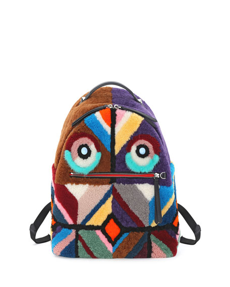 Mixed-Fur Geometric Monster Backpack, Multi/Black