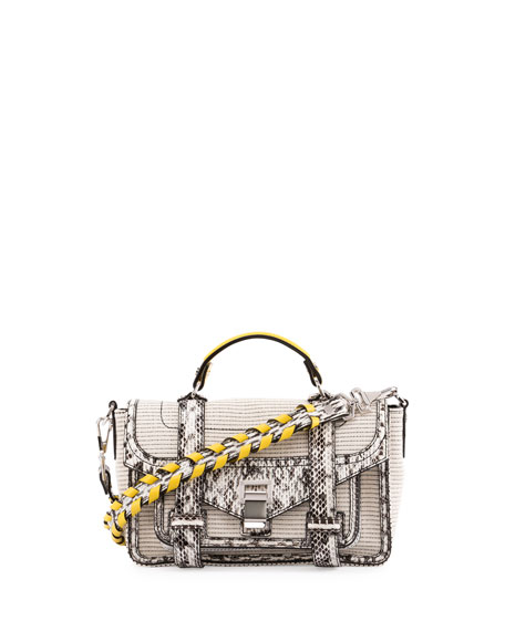 PS1 Tiny Canvas & Snakeskin Satchel Bag, Ecru