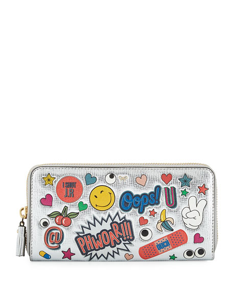 Anya Hindmarch All Over Wink Sticker Large Zip-Around