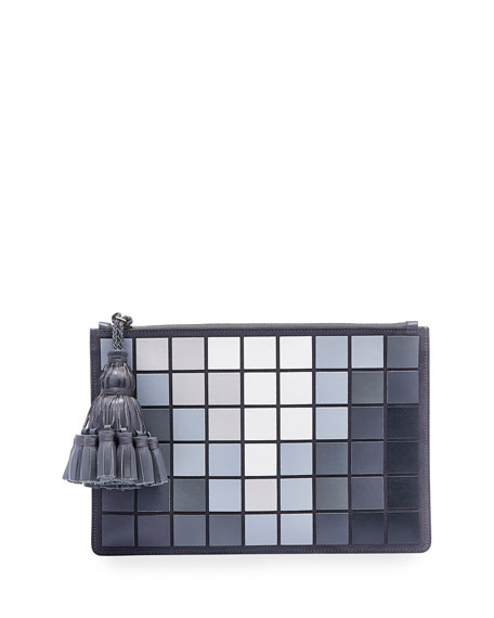 Georgiana Giant Pixels Clutch Bag, Charcoal