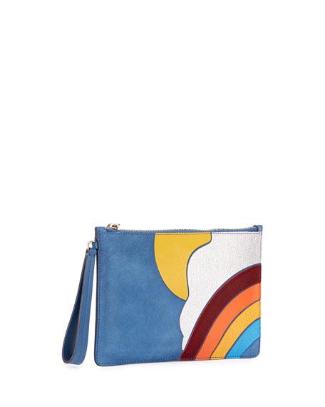 Rainbow & Cloud Suede Zip Pouch, Blue
