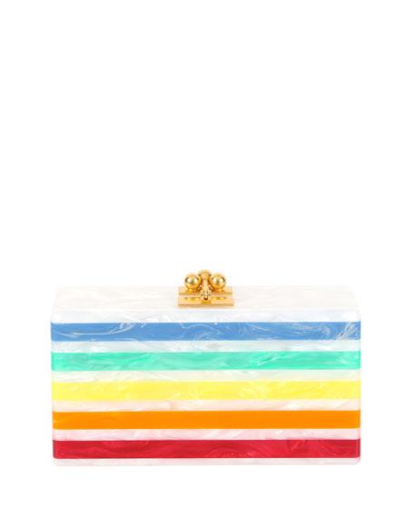 Jean Striped Acrylic Clutch Bag
