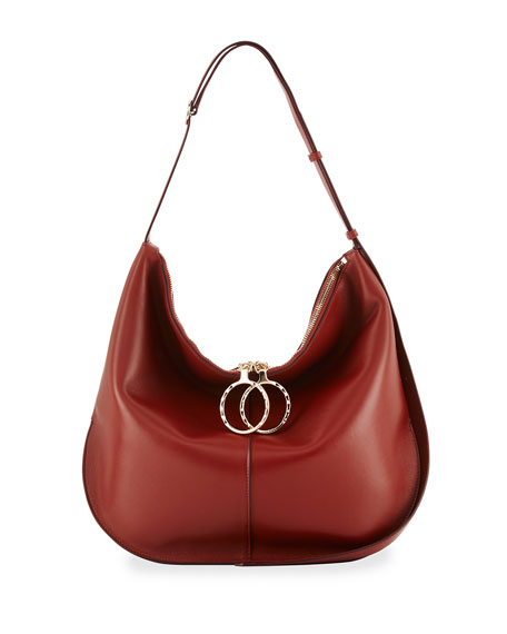 Nina Ricci Kuti Large Leather Hobo Bag, Red