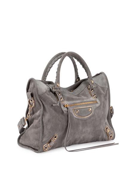 ed14e3f1828d7 Balenciaga Metallic Edge Suede City Bag