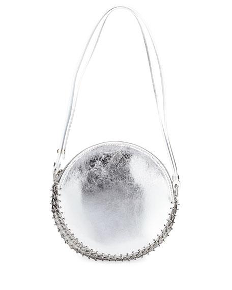 14#02 Crackled Metallic Leather Circle Bag
