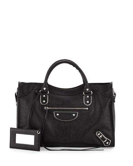 Metallic Edge City Bag, Black