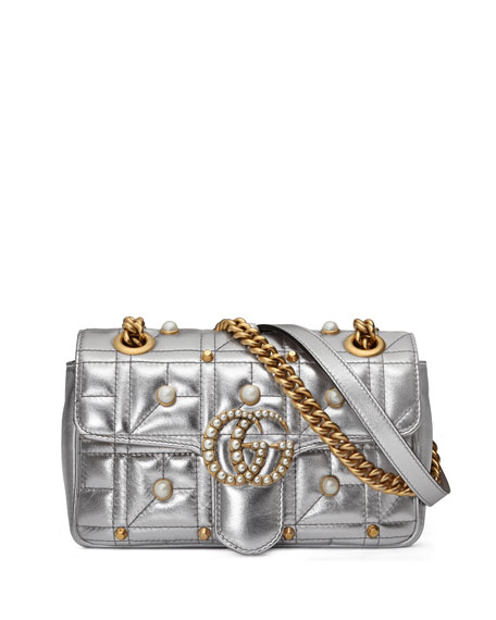Pearly Stud GG Shoulder Bag, Silver