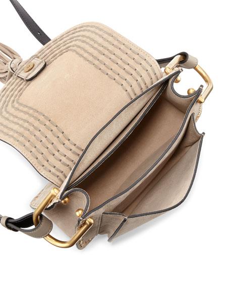 Hudson Small Suede Shoulder Bag, Light Gray