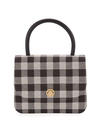 Metropolitan Gingham Top-Handle Bag, Black