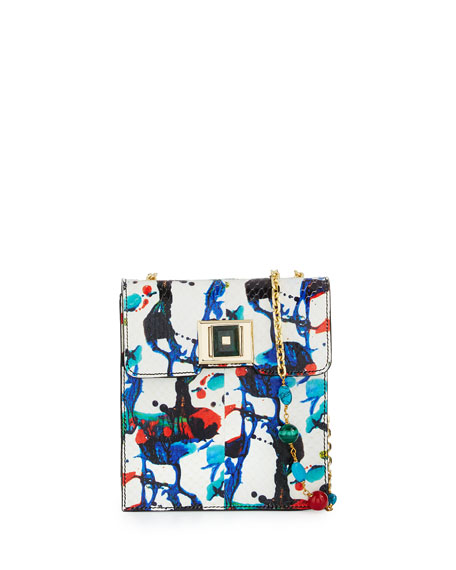 Abstract Splatter-Print Snakeskin Shoulder Bag, White/Multi