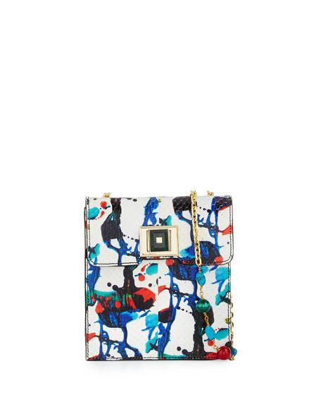 Andrew Gn Abstract Splatter-Print Snakeskin Shoulder Bag,