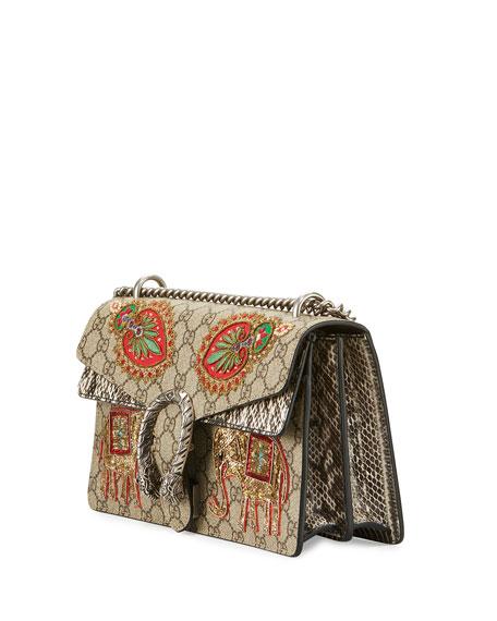 Embroidered GG Supreme Shoulder Bag, Brown Pattern