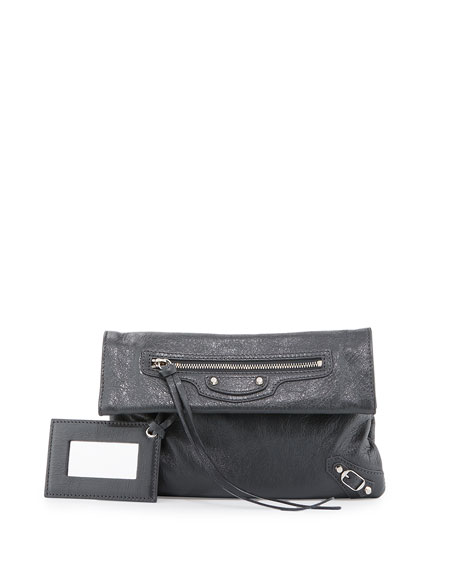 Balenciaga Classic Nickel Mini Envelope Crossbody Bag, Gray