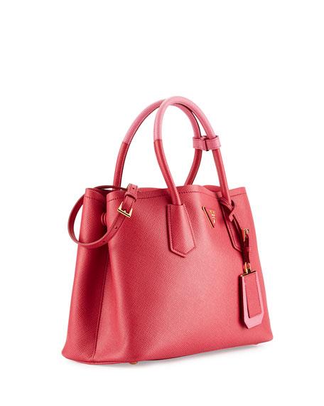 Saffiano Cuir Double Mini Tote Bag, Pink