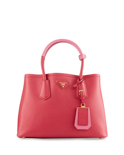 Saffiano Cuir Double Mini Tote Bag, Pink