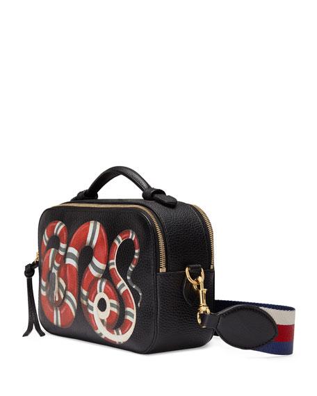29aa145de63 Gucci Snake-Print Leather Shoulder Bag, Black Pattern