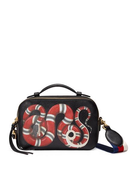 785b61d1813716 Gucci Snake-Print Leather Shoulder Bag, Black Pattern
