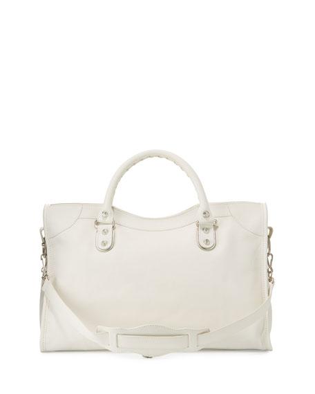 Classic Metallic Edge City Bag, White