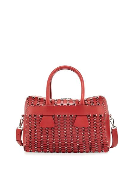 Boston Circle-Cut Leather Satchel Bag
