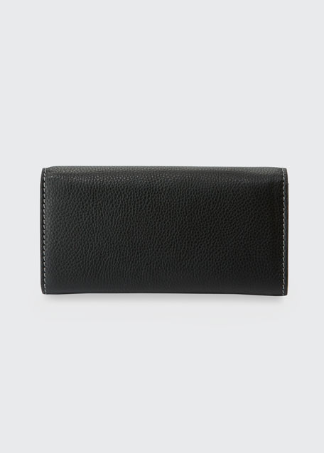 Marcie Calfskin Zip-Around Wallet, Black