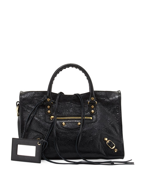 Balenciaga Classic Gold City Small Satchel Bag, Black