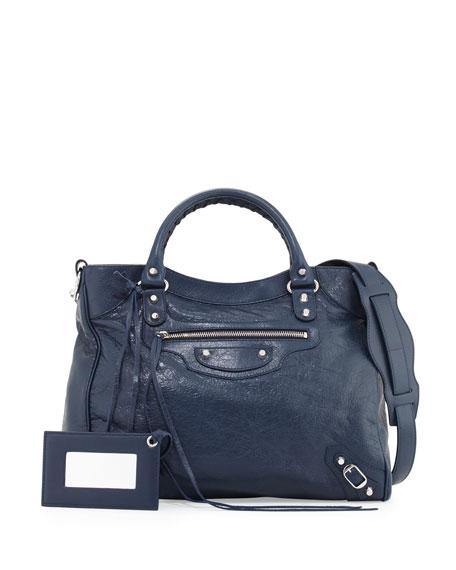 Classic Velo Lambskin Tote Bag, Blue